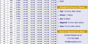 Ramadan Prayer Schedule